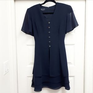 Vintage Navy Tiered Dress/Gold Buttons
